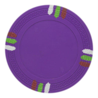 Roll of 25 - Purple Blank Claysmith 12 Stripe Poker Chip - 1