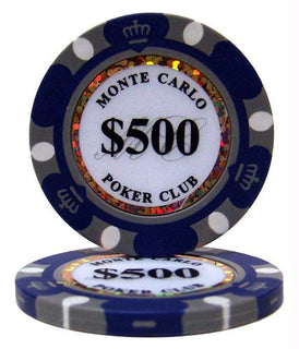 Roll of 25 - $500 Monte Carlo 14 Gram Poker Chips