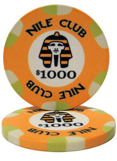 Roll of 25 - $1000 Nile Club 10 Gram Ceramic Poker Chip