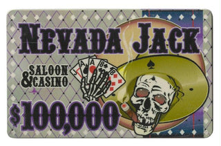Roll of 25 - $100,000 Nevada Jack 40 Gram Ceramic Poker Plaq