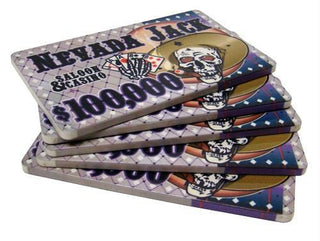 5 $100,000 Nevada Jack 40 Gram Ceramic Poker Plaques