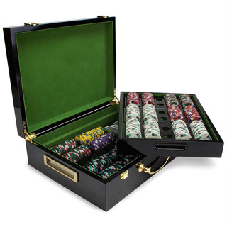 500ct Claysmith Poker Knights Chip Set in Hi-Gloss Wood Case