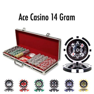 500 Ct - Custom - Ace Casino 14 Gram - Black Aluminum