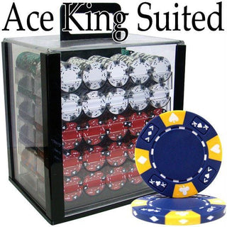 Pre-Pack - 1000 Ct Ace King Suited Chip Set Acrylic Case