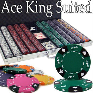 Pre-Pack - 1000 Ct Ace King Suited Chip Set Aluminum Case