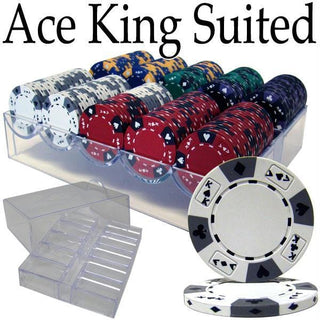 Pre-Pack - 200 Ct Ace King Suited Chip Set Acrylic Tray Case
