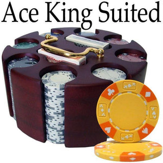 Pre-Pack - 200 Ct Ace King Suited Chip Set Wooden Carousel