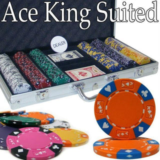 Pre-Pack - 300 Ct Ace King Suited Chip Set Aluminum Case