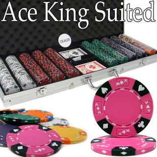 Pre-Pack - 500 Ct Ace King Suited Chip Set Aluminum Case