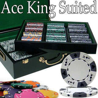 Pre-Pack - 500 Ct Ace King Suited Chip Set Hi Gloss Case