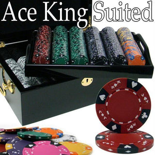 Pre-Pack - 500 Ct Ace King Suited Set Black Mahogany Case