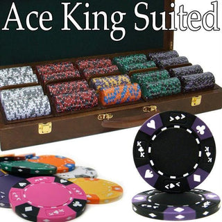 Pre-Pack - 500 Ct Ace King Suited Chip Set Walnut Case