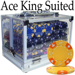 Pre-Pack - 600 Ct Ace King Suited Chip Set Acrylic Case