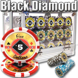 600 Ct. Black Diamond Poker Chip 14 gram - Acrylic Case