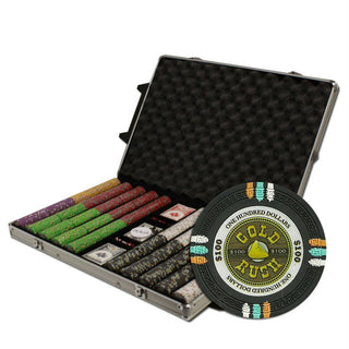 "1000Ct Custom Claysmith Gaming ""Gold Rush"" Chip Set Rolling"