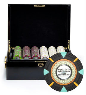 500Ct Claysmith Gaming 'The Mint' Chip Set in Black Mahogany