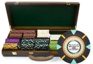 500Ct Claysmith Gaming 'The Mint' Chip Set in Walnut