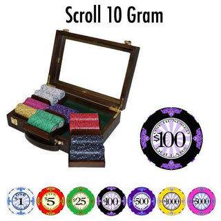 300 Ct Standard Breakout Scroll Poker Chip Set Walnut Case