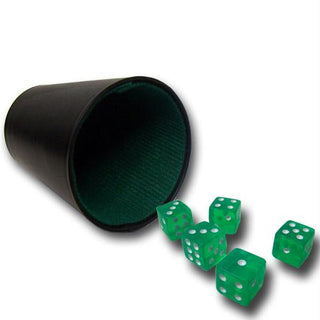 5 Green 16mm Dice with Plastic Cup