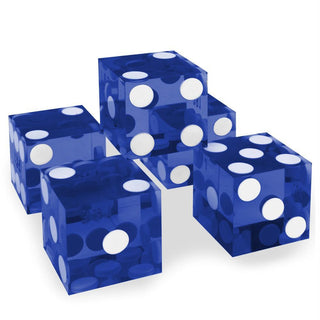 (5) New Blue 19mm Grd A Precision Dice w-Matching Serial #s