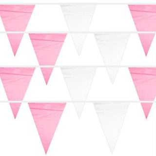 Pink & White 100 Foot Pennant Stringer with 48 Flags
