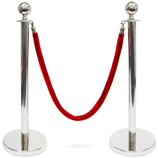 3-Foot Stanchion with 4.5 ft Red Velvet Rope, S