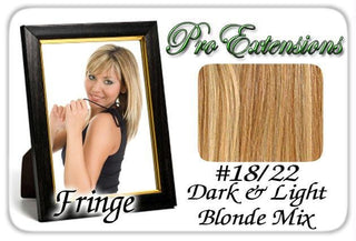 #18-22 Dark Blonde w- Highlights Pro  Fringe Clip In Bangs
