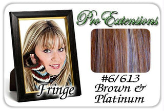 #6-613 Chestnut Brown & Platinum Highlights Clip In Bangs
