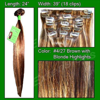 #4-27 Dark Brown w- Golden Blonde Highlight - 24 inch Remy