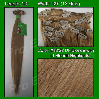 #18-22 Dark Blonde w- Light Blonde Highlights - 20 inch