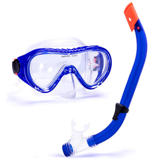 Junior Semi-Dry Diving & Snorkel Set, Blue