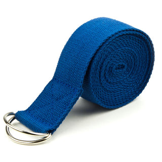 Blue 10' Extra-Long Cotton Yoga Strap with Metal D-Ring
