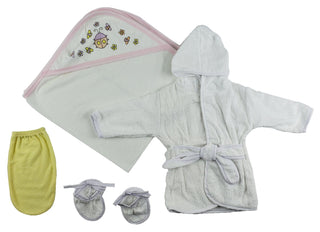 Girls Infant Robe, Hooded Towel And Washcloth Mitt - 3 Pc Set