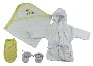 Infant Robe, Hooded Towel And Washcloth Mitt - 3 Pc Set