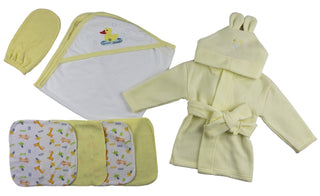 Yellow Infant Robe, Yellow Hooded Towel, Washcloths And Hand Washcloth Mitt - 7 Pc Set