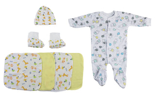 Sleep-n-play, Cap Booties And Washcloths - 7 Pc Set