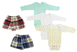 Infant Boys Long Sleeve Onezies And Boxer Shorts