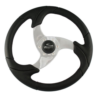"Schmitt Folletto 14.2"" Black Poly Steering Wheel w- Polished Spokes and Black Cap - Fits 3-4"" Tapered Shaft Helm"