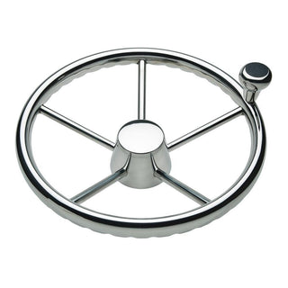 "Schmitt 170 13.5"" Stainless 5-Spoke Destroyer Wheel w- Stainless Cap and FingerGrip Rim - Fits 3-4"" Tapered Shaft Helm"