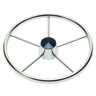 "Schmitt 170 13.5"" Stainless 5-Spoke Destroyer Wheel w- Black Cap and Standard Rim - Fits 3-4"" Tapered Shaft Helm"