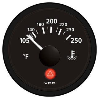 VDO Viewline Onyx 250°F Water Temperature Gauge 12-24V - Use with VDO Sender