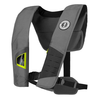 Mustang DLX 38 Deluxe Manual Inflatable PFD - Gray-Fluorescent Yellow