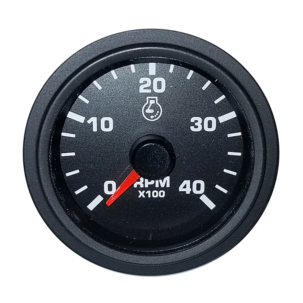 "Faria 2"" Tachometer Variable Frequency 4000 RPM Gauge - Black - Bulk Packaging"