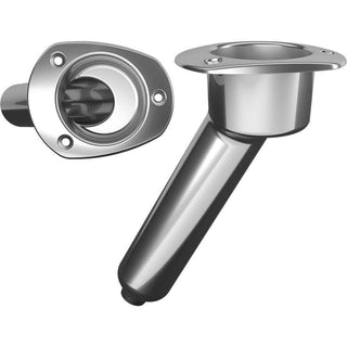 Mate Series Stainless Steel 30° Rod & Cup Holder - Drain - Oval Top