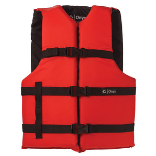 Onyx Nylon General Purpose Life Jacket - Adult Universal - Red