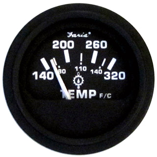 "Faria 2"" Heavy-Duty Oil-Temp Gauge (140-320 F-C) - Black"