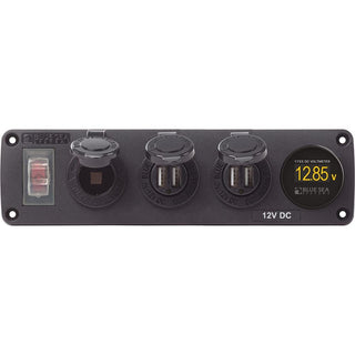 Blue Sea 4368 Water Resistant USB Accessory Panel - 12V Socket, 2x 2.1A Dual USB Chargers, Mini Voltmeter
