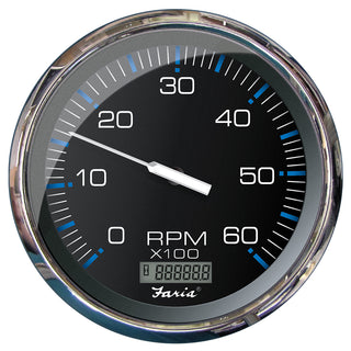 "Faria 5"" Tachometer w-Digital Hourmeter (6000 RPM) (Gas) (Inboard) Chesapeake Black w-Stainless Steel"