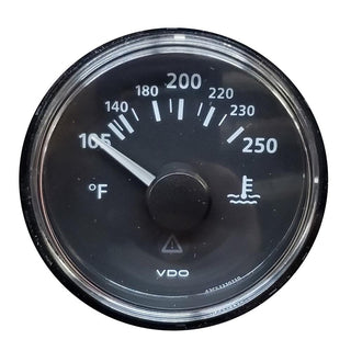 VDO ViewLine Onyx 250°F Water Temperature Gauge 12-24V with VDO Sender & US Thread Adapters - Bezel NOT Included