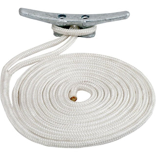 "Sea-Dog Double Braided Nylon Dock Line - 3-8"" x 15' - Gold-White w-Tracer"
